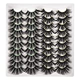 JIMIRE 20 Pairs 25MM False Eyelashes 2 Styles Mixed Fake Lashes Fluffy Long Dramatic 3D Volume Faux Mink Lashes Pack