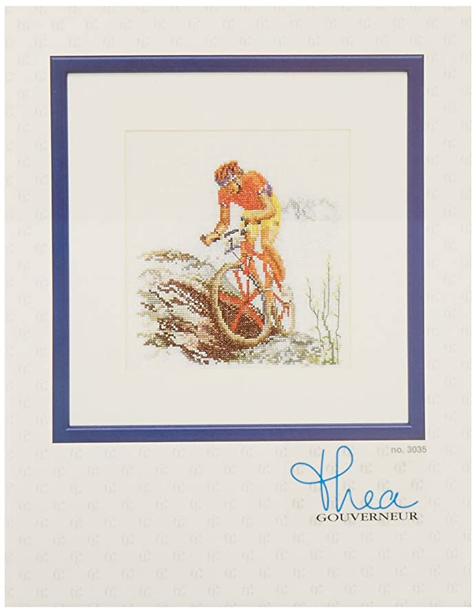 Thea Gouverneur TG3035A 18 Count Counted Cross Stitch Kit, 6-1/4 by 6-3/4-Inch, Mountain Bike on Aida