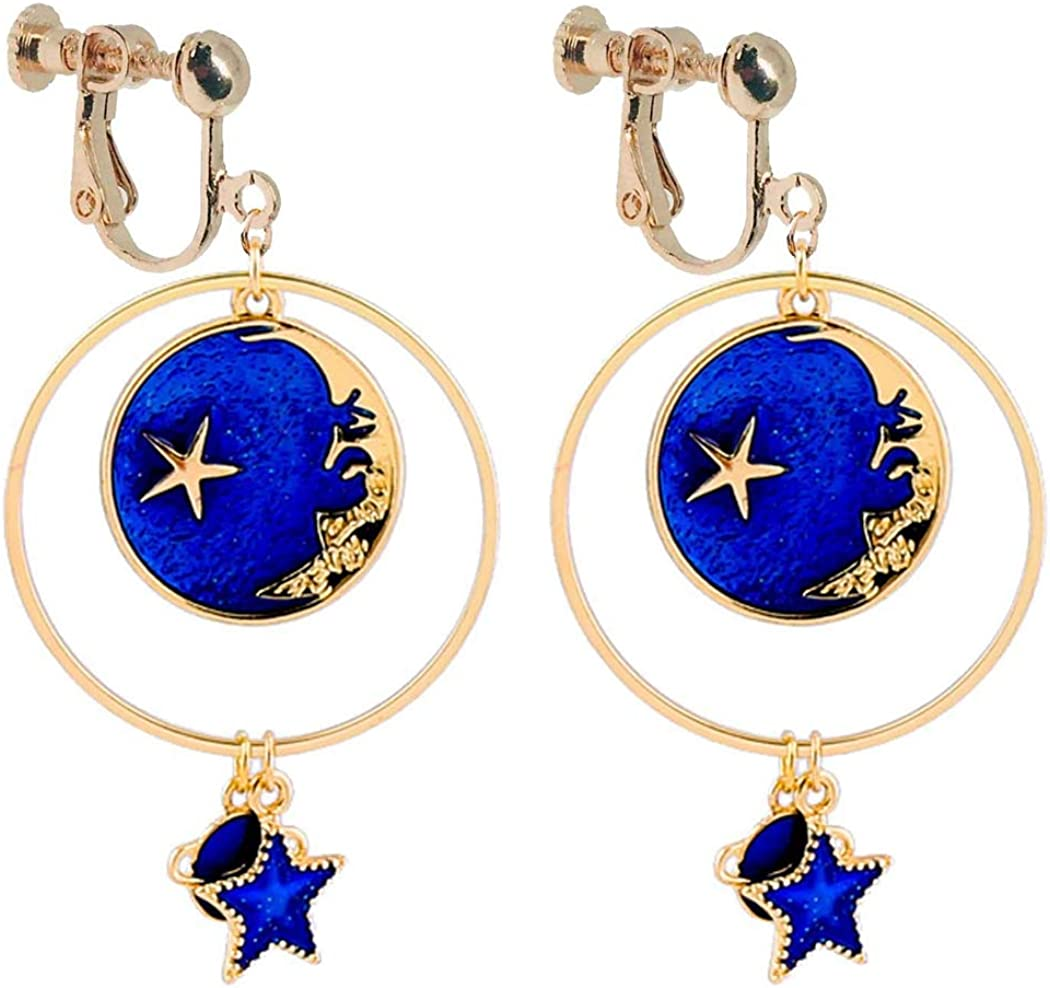 Women's Gold Plated Clip on Non Pierced Earrings Sweet Enamel Blue Moon and Star Pendant Crescent Face Tassel Round Circle Dangle Drop for Women Girls Birthday Party Prom Gifts Bohemian Jewelry