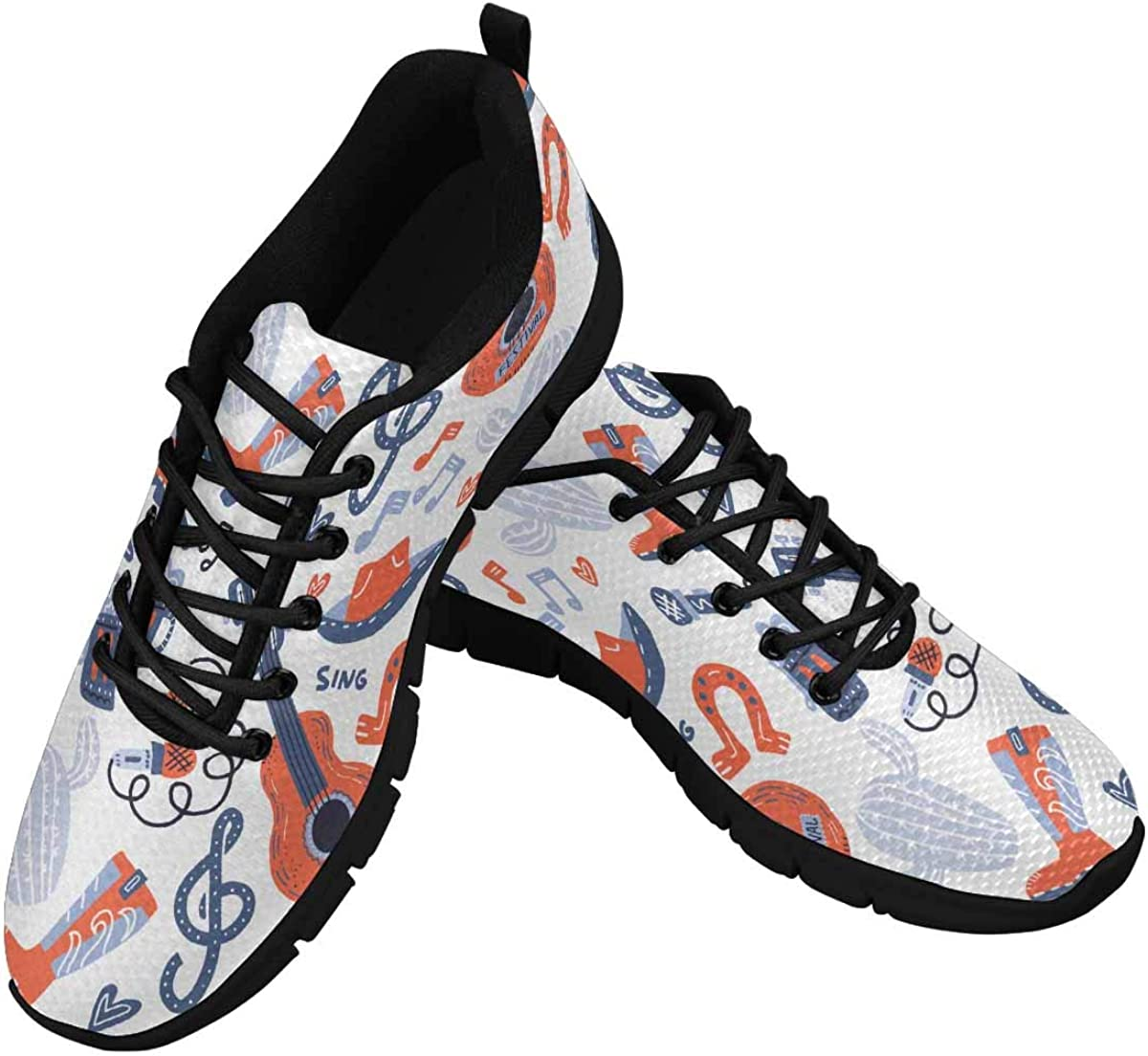 INTERESTPRINT Country Music Background Women's Athletic Walking Shoes Comfort Mesh Non Slip