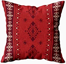 HerysTa 20x20 Pillow Case, Home Cotton Throw Pillow Case Invisible Zipper Cushion Cases Ethnic Tribal Pattern Boho Square Sofa Bed Décor,Red Brown