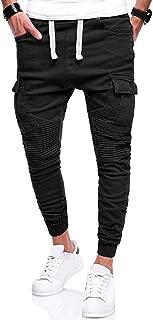 New Pants Hip Hop Harem Joggers Male Trousers Mens Joggers Solid Multi-Pocket Pleated Pants Sweatpants 4XL