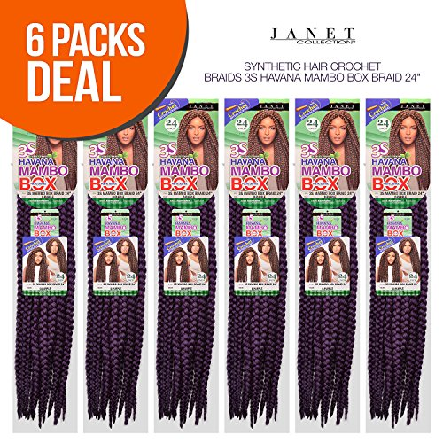 MULTI PACK DEALS! Janet Collection Synthetic Hair Crochet Braids 3S Havana Mambo Box Braid 24'...