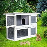 Aoxun 41'' 2 Story Rabbit Hutch Indoor, Outdoor Wooden Bunny Cage, Chicken Coop Guinea Pig House Small Animal Cage with Trays (Grey)
