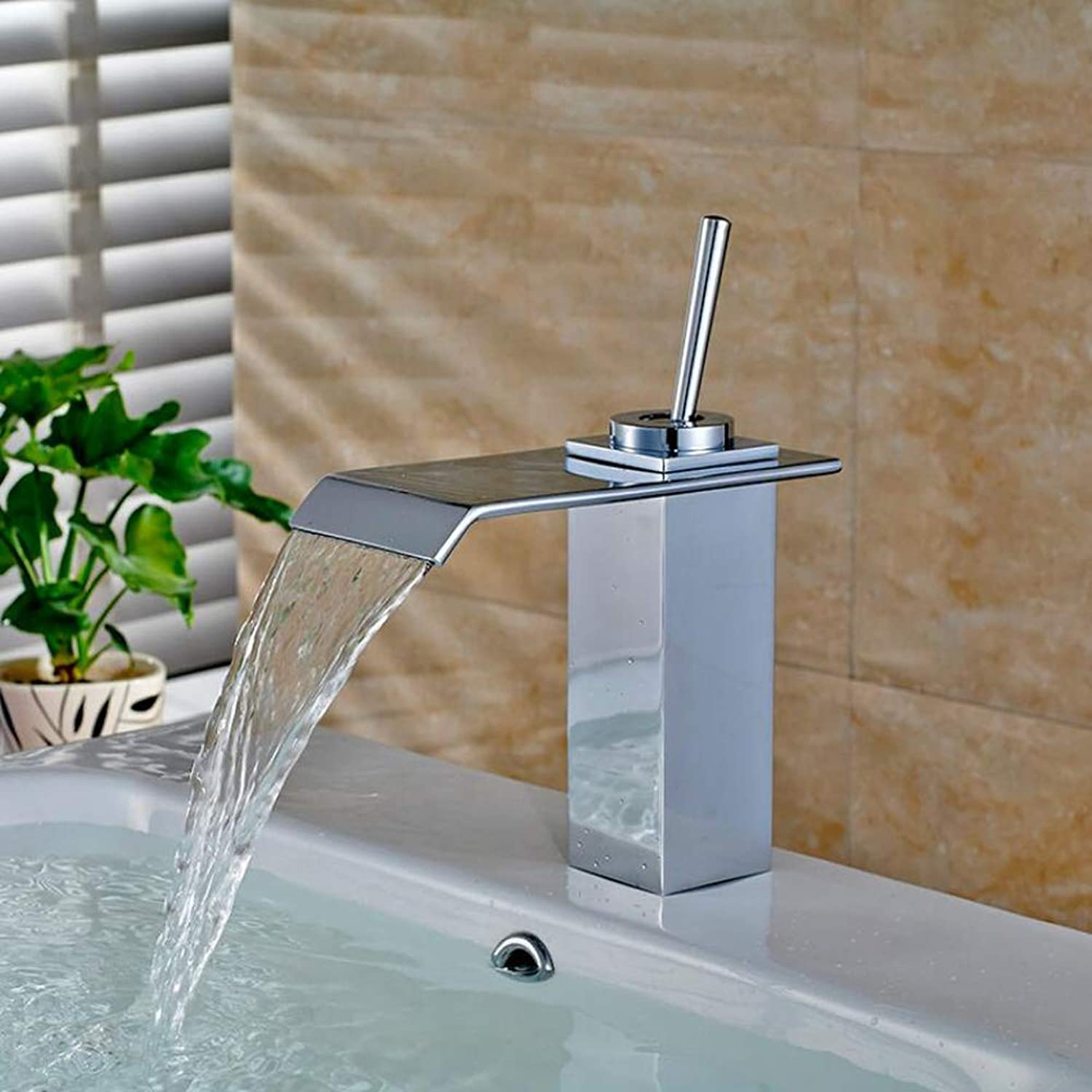 Flat mouth Square Waterfall Chrome Leadless Brass Faucet Bathroom Sink Hot Cold Taps Basin Mixer Tap,SilverWaterfallFaucet