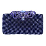 Fawziya Crown Crystal Clutch Hardshell Evening Clutches For Wedding And Party-Blue