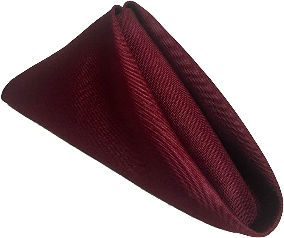 Excellent Designs Burgundy Polyester Cloth Dinner Napkins Pack Of 12 18 X 18 Soft Comfortable Durable Machine Washable Fabric Ideal As Parties Regular Home Use Or Restaurant Napkins