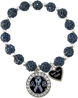 Holly Road ALS Lou Gehrig's Awareness Navy Bling Stretch Bracelet Jewelry Choose Your Text