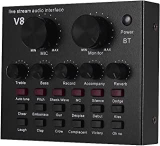 JJmooer External Audio Mixing Sound Card USB Audio Interface BT Connection with Multiple Sound Effects Built-in Rechargeab...