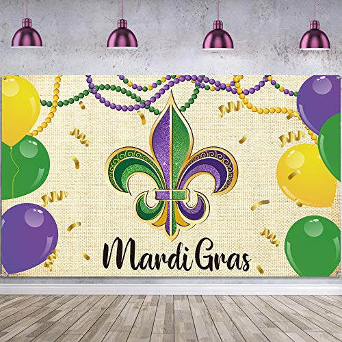 Mardi Gras PartyBackdrop Banner DecorationMardi Gras Photography Background Extra Large Fabric Carnival Banner Photo Booth for Mardi Gras Party Masquerade Dancing Party Decorations Supplies