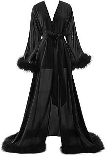 BBCbridal Women Sexy Feather Long Wedding Scarf Illusion Nightgown Robe Perspective Sheer Bathrobe Sleepwear