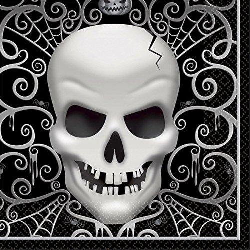 NET TOYS 16 Totenkopf Servietten 33 x 33 cm - 16 Stück Halloween Tischdeko Tischdekoration Papierservietten Skelett Deko