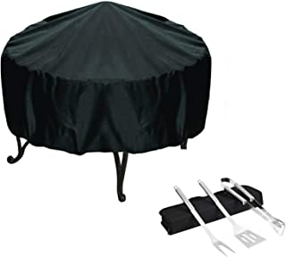 Fire Pit Cover, BBQ Grill Cover, Waterproof and Breathable Oxford Cloth Outdoor Garden Terrace, Rainproof, Dustproof and U...