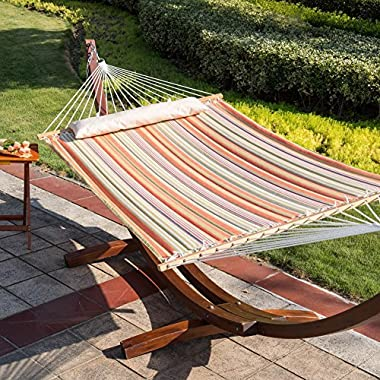 Lazy Daze Hammocks Fade-resistant Quilted Hammock Double Size Spreader Bar Heavy Duty Stylish Hammock Swing Bed with Pillow, Cottony-Soft Fabric Material for Two Person, Orange Stripe