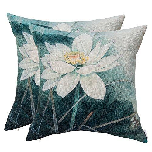 Simple Style Taie d'oreiller carrée en coton et lin pour canapé 45,7 x 45,7 cm