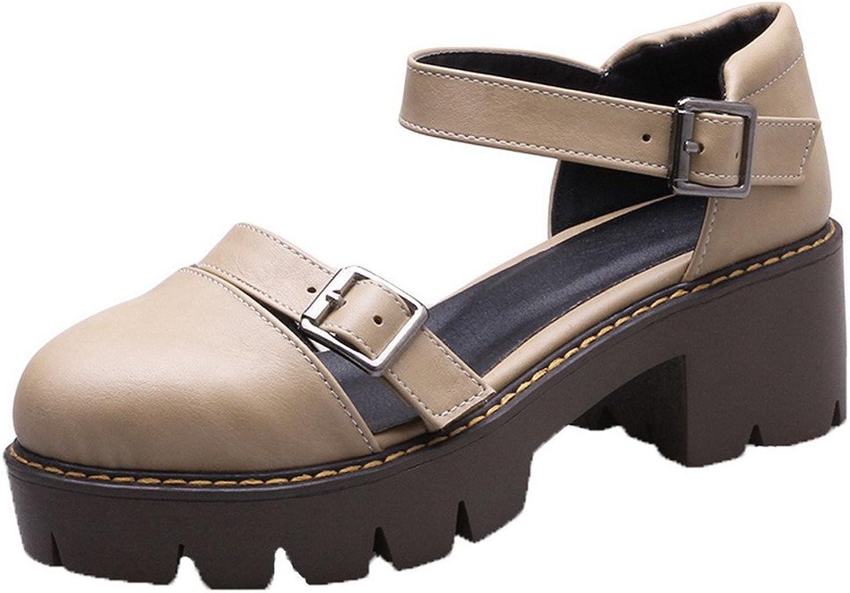 WeenFashion Women's Buckle Closed-Toe Kitten-Heels Pu Sandals