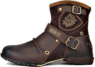Bottes Chukka Chaudes à la Mode pour Hommes avec Fermeture éclair Bottes de Moto Rétro Bottines Punk Cowboy Chaussures Déc...