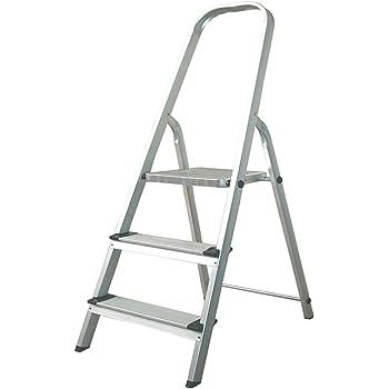 Escalera de Aluminio 3 Peldaños Catter House Alt. Máx. Trabajo 260 cm Plegable con Barandilla: Amazon.es: Bricolaje y herramientas