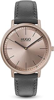 Hugo Boss Women's Carnation Gold Dial Grey Leather Analog Watch - 1540009