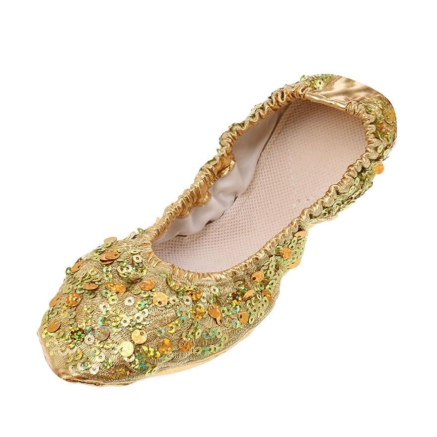 強度礼儀針Blesiya ベリーダンスシューズ ソフトソール ダンスパフォーマンス シューズ 舞台演出 靴 スパンコール付き 快適 踊り 便利 2色4サイズ選べる