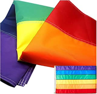VSVO Rainbow Flag 3x5 Ft with Sewn Stripes - Brass Grommets - UV Protection – LGBT Outdoor Banner 3' x 5' Flags.