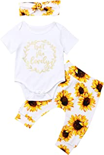 Newborn Isnt She Lovely Baby Girl Outfit Short Sleeve Romper Sunflower Pants Headband Clothes Set