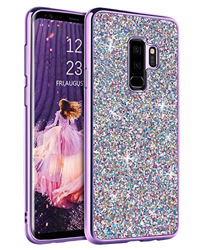 YINLAI Funda para Samsung Galaxy S9 Plus, con purpurina, funda para Samsung S9 Plus, carcasa híbrida de TPU antigolpes, antigolpes, antideslizante, color morado