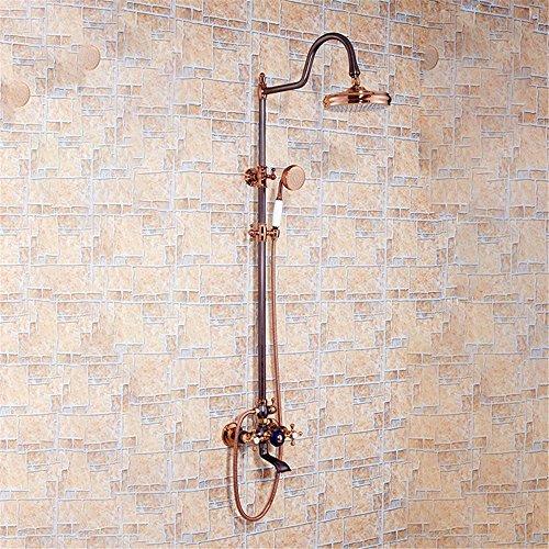 NIHE Ensemble de robinet de bain ORB de style européen Ensemble de robinet de baignoire à douche en laiton massif Robinet de douche à double trou avec douche à main , A