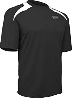 PT-818S-CB Men's Performance Loose Fit Athletic Shirt with White Lightning Shoulder Panel-Great for Cross Training, Weight Lifting, or Sport Competition (XX-Large, Black/White)