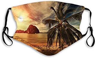 Comfortable Printed mask,Tropical, Exotic Beach with Coconut Palm Tree and Horizon Sunset Calm Panorama, Orange and Olive ...