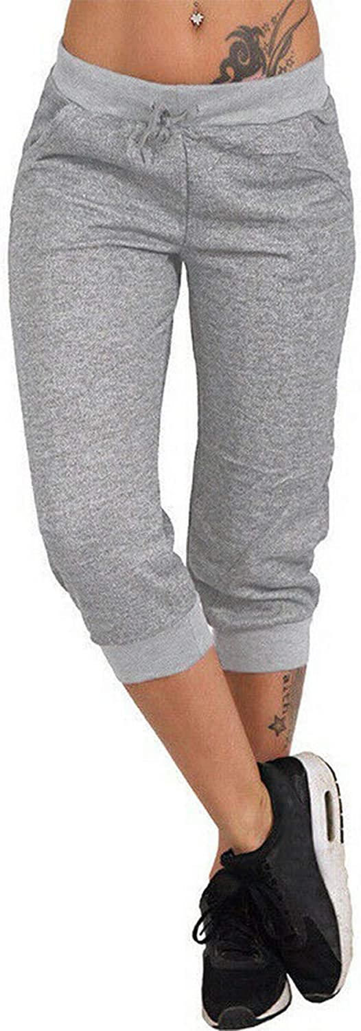 Womens Drawstring Capri Joggers Sweatpants Lightweight Skinny Fit Premium Soft Stretch Pockets Pants