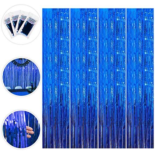 Cortinas Metálicas de Oropel, 4 Pack Streamer Azul Telón de Fondo Cortina de Borla Fringe Cortina de Brillo para Decoraciones Boda Fiesta de Cumpleaños (1m x 2m)