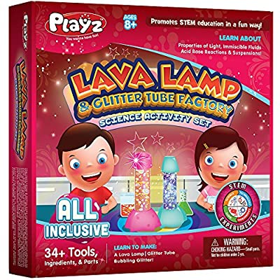 Playz Lava Lamp & Glitter Tube Arts and Craft Science Activity Set - 34+ Tools to Make a Lava Lamp, Glitter Tube, Bubbling Glitter & More for Girls, Boys, Teenagers, & Kids Age 8+