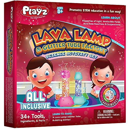 Product Image of the Playz Lava Lamp & Glitter Tube Arts and Craft Science Activity Set - 34+ Tools...