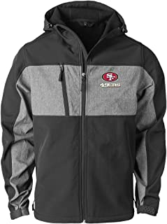 NFL San Francisco 49Ers Mens Zephyr Softshell Jacket, Black/Red, Large