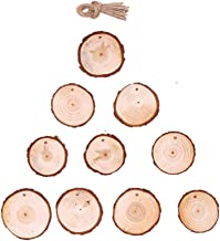 TOYANDONA 10pcs Unfinished Wood Slices Round Disc Circle Wood Pieces Wooden Cutouts Ornaments for Christmas Tree Embellish...