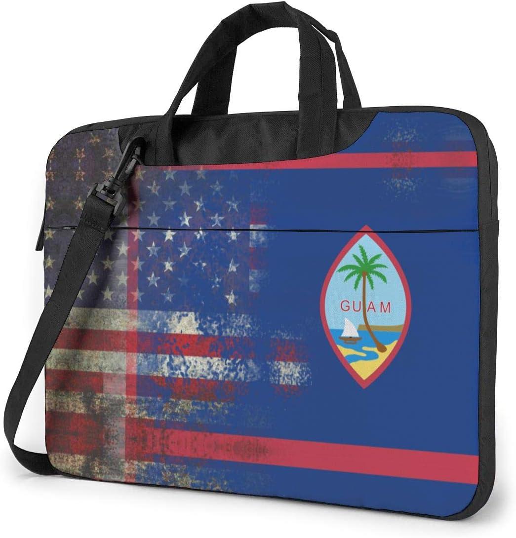 Retro American Guam Flag Laptop Bag Shoulder Bag Computer Bag Briefcase Bag Inclined Shoulder Bag