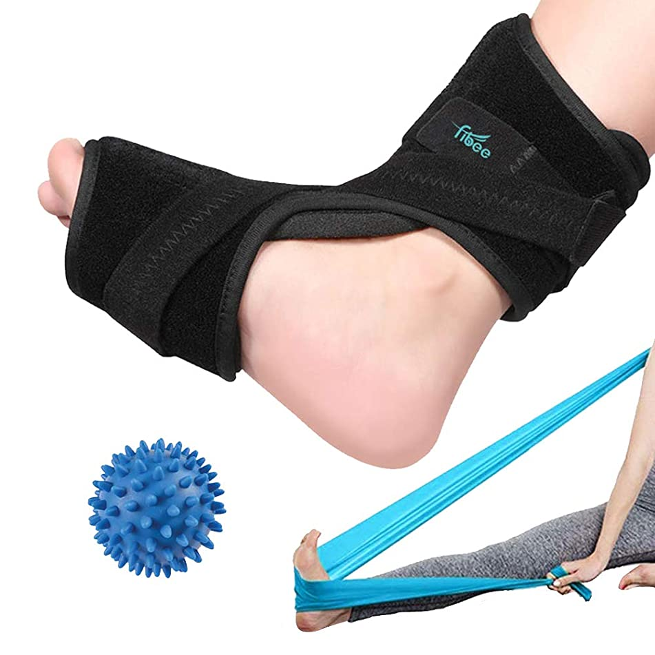 Plantar Fasciitis Night Splint for Plantar Fasciitis Pain Relief Sleep Support, Adjustable Dorsal Drop Foot Brace for Women and Men Fits Right or Left Foot with Exercise Band and Massage Ball