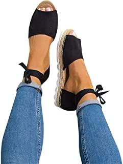 Womens Summer Espadrille Ankle Strap Flat Sandals Peep Toe Flip-Flop Shoes