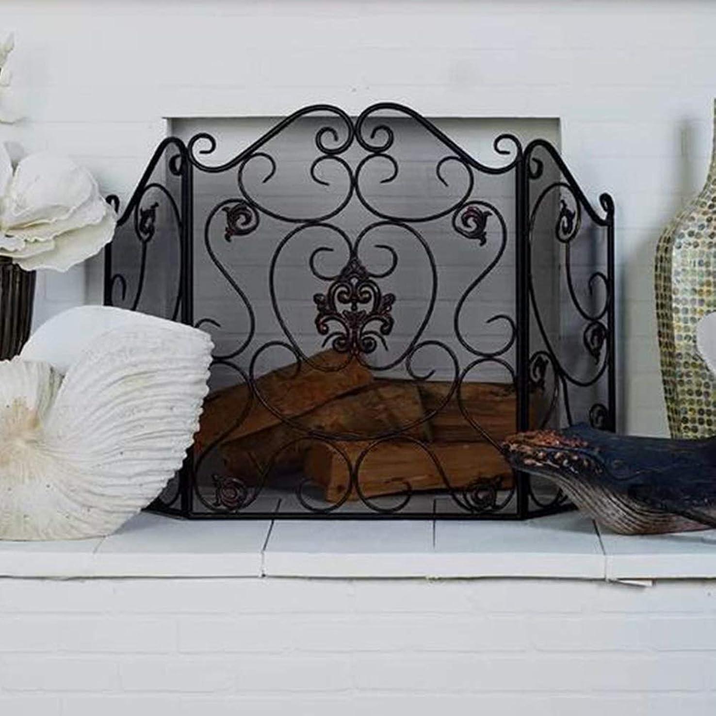 そよ風メーカーマグYXX-暖炉スクリーン 3パネル 夏の装飾のための暖炉メッシュスクリーン、 ラージベビープルーフスパークガード、 ブラック 猫のための暖炉のフェンス