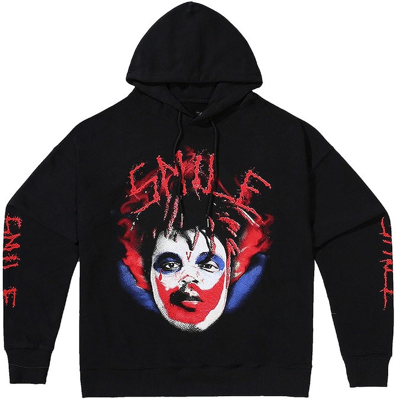 Vlone Hoodie for Man Big V×Smiley Clown Novelty Pattern Pullover Sweatshirt Trendy Fashion Long Sleeve Hooded Top