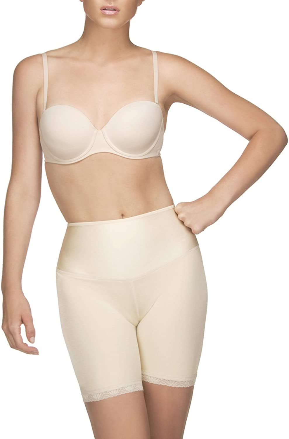 Vedette Womens 204 Dominique Mid Thigh Panty Short Shapewear, Nude, Medium