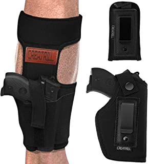 Creatrill Bundle of Ankle Holster & Inside The Waistband Gun & Magazine Holster for Concealed Carry, Fits S&W M&P Shield Taurus PT111 G2 Sig Sauer Glock 19 26 27 29 30 33 Springfield XD Ruger LC9