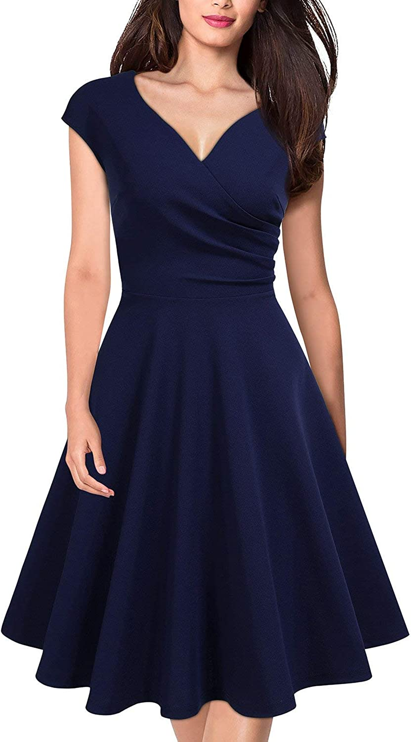 MISSMAY Women's Retro Deep V Neck Cap Sleeve Cocktail Party Fit and Flare Dress