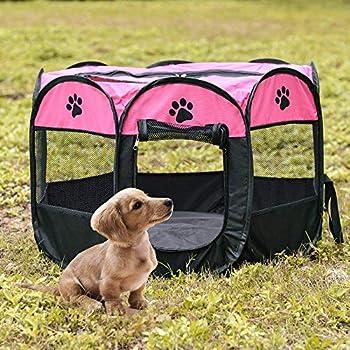 Tineer Portable Pet Cat Cage pour Chien Niche Chenil Tente Lit Parc d'enfant Camping de Plein air Pliable Maison de Caisse de Chien de Voyage Playpen (S:72×72×45cm, Rose)