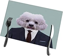 Randell Kitchen Table Mats Set of 4 Bichon Frise Dog Animal Dressed Up in Navy Blue Suit with Red Tie Business Man Stain Resistant Table Mats 12