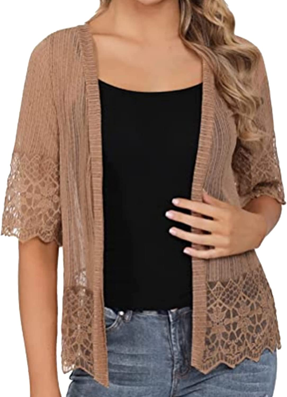 renvena Womens Half Sleeve Bolero Shrugs Floral Lace Open Front Cardigan Sweater