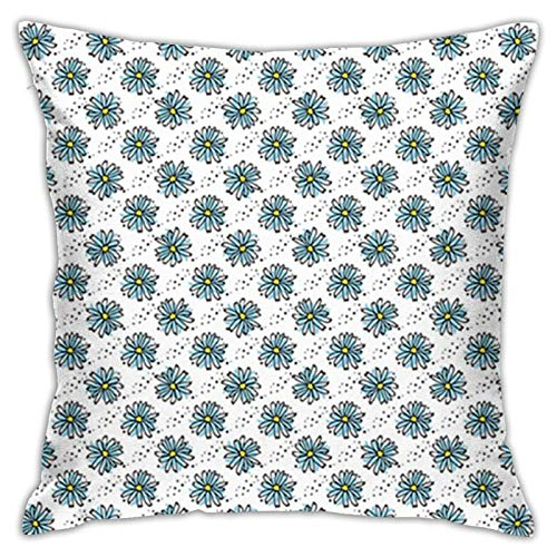 FULIYA 18X18 inches Throw Pillow Cover,Daisy,Pastel Chamomile Blossom Herbal Wild Flowers Digital Paintbrush,Pale Azure Blue Dark Blue Grey,Pillow Case Decorative Cushion Home Sofa