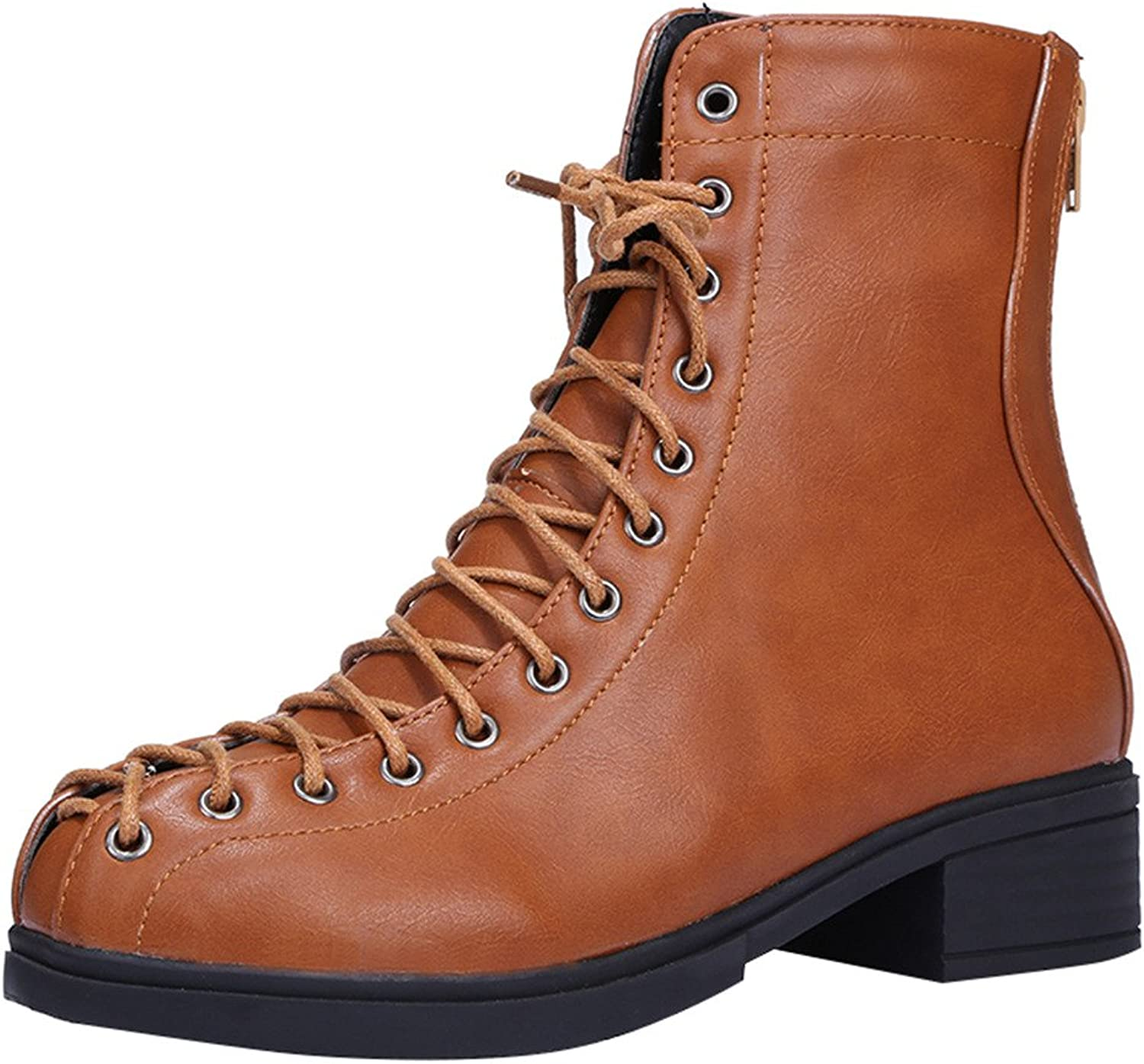 Eclimb Womens Round Toe Military Lace Up Combat Ankle Boots