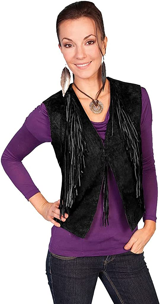 Scully Western Vest Womens Knotted Fringe Black Boar Suede F0_L1036